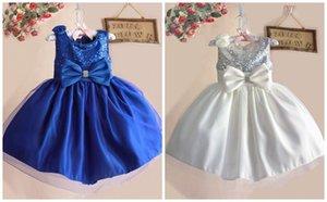 EL ccsme DHL envío gratis NUEVOS niños elegante Sash Bow flor niños niñas vestidos sin mangas princesa de Pascua Sequin Sparkle Ocasión vestido