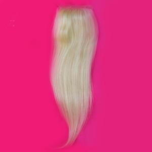 Malasio Blonde 4x4 Lace Top Closure con pelo de bebé Recto # 613 Platinum Bleach Blonde Lace Closure Pieces Free Middle Three Part