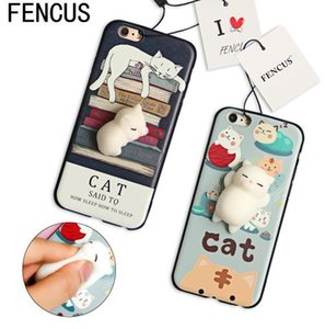 FENCUS Squishy Mobile phone Cases Cute 3D Soft Lazy Cat Cartoon phone Back Cover Shell For iphone 5 5s SE 6 6s 6 plus 7 7Plus