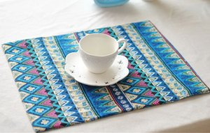 Wholesale- Placemat in Cotton Linen for 1pc HT2 Double Layer Table mat in Bohemia style for home kitchen and dining decoration 40x30cm