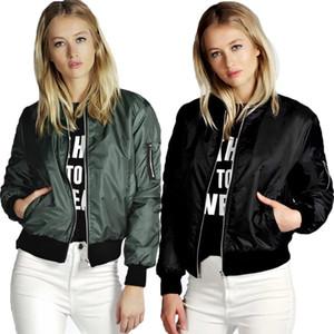All'ingrosso-Donne bomber nuove donne 2016 cappotto corto giacche a mosca abiti femminili rosso nero verde militare cotone poli misto sottile S-XL