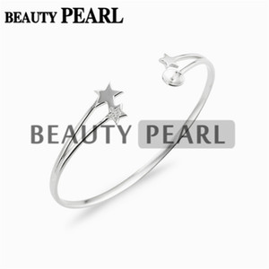 3 Pieces Star Bracelet Base Pearl Semi Mountings Star 925 Sterling Silver Blanks Cuff Bangle Settings