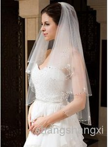 New 2020 Bridal Veil Two Layers Elbow Length Beaded Edge Best Selling Cheap Gorgeous Wedding Veils