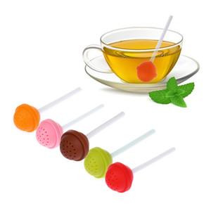 Lollipop Shape Silicone Tea Infuser Candy Lollipop Taza de la hoja suelta colador taza Steeper para el té del café Drinkware