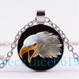 10 Unids EE. UU. Águila Collar Colgante, Regalo de Navidad, Regalo de cumpleaños, Cabochon Collar de Cristal, plata / negro Joyería de Moda R-1152