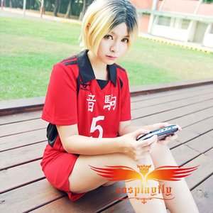 Wholesale-(Number can be changed) Anime Haikyu Nekoma High School Kozume Kenma No 5 Cosplay Jersey Costume (w0511)