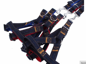 Dog Leads harness leash Collars Adjustable jeans denim cloth Cat rope belt adjustable collar dogs 3 colors for Medium Large dogs Pet Product