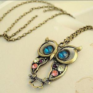 Neue vorzügliche Weinlese-Frauen-Legierungs-Kristalleulen-hängende Halsketten-lange Strickjacke-Ketten-Schmucksache-Charme-Art- und Weisehalsketten Großverkauf