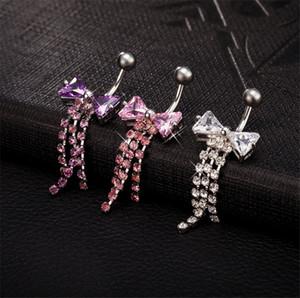 Горячих продажи Высокого качества смычка кисточка Navel Ring Bar Bell Button ювелирное кольцо пирсинг пупок тело для молодых леди BR-052