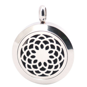 Lotus Flower 25mm Diffuser 316 Stainless Steel Necklace Pendant Aroma Locket Essential Oil Diffuser Lockets Send 100pcs Oils Pads As Gifts