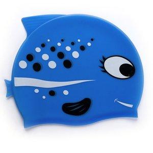 Child Cartoon Fish Swimming Cap Non-slip Silicone Oversized Kids Swim Caps Outdoor Water Sports Silicone Materials