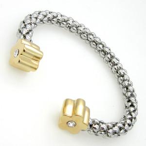 Or argent femmes bracelet inoxydable câble fleur double acier 1pcs expédition de baisse
