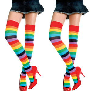 New Arrival Fashion Lady Women Over Knee Socks Rainbow Striped High Thigh Long Stripey Stocking Socks