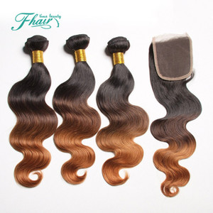 2016 Prodotti Ombre capelli indiani onda del corpo con chiusura a tre toni 1B / 4/30 miele marrone Ombre capelli 3 Bundle con chiusura in pizzo
