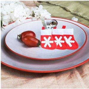 Neues Design Weihnachtsschmuck für Zuhause Christma Spielzeug Ornamente Santa Besteckhalter Taschen Geschirr Set Dinner Decor 7 * 14 cm