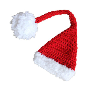 Handmade Knit Crochet Baby Santa Elf Hat,Red Xmas Baby Boy Girl Christmas Pompom Hat,Adorable Beanie,Newborn Infant Photography Prop