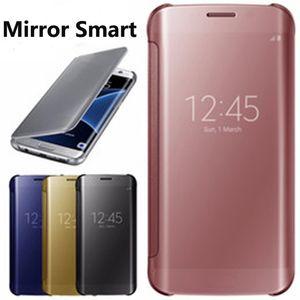 Espelho caso de couro limpar a vista da janela de revestimento de chapeamento de cromo galvanizar inteligente case capa para samsung galaxy s5 s6 s7 s8 s5 ...