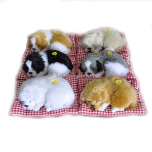 Novo 6 cores simulação modelo cão dos desenhos animados brinquedos de pelúcia enfeites de natal cão dormindo modelo decoração de animais de pelúcia C2918