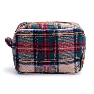 wholesale blanks tan plaid cosmetic bag herringbone houndstooth make up bag with zipper closure wool material DOM676
