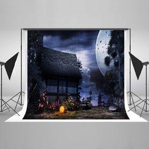 Freeshipping Noite Foto Fundo Halloween Casa Velha Lua Cenários de Imagem Feliz Abóbora Crianças Fotografia Cenário