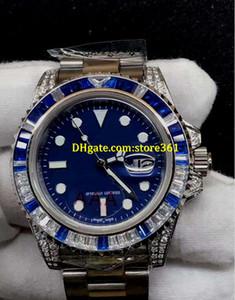 Christmas gift mens SWISS watch Color diamond bezel blue face diamond bracelet 116622 Automatic Watch