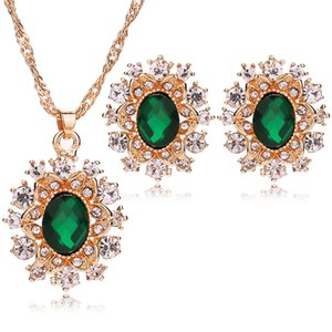 European Gemstone Wedding Bridal Jewelry Sets For Womens Lady Crystal Snowflake Pendant Necklace Earrings With Rhinestone Gift