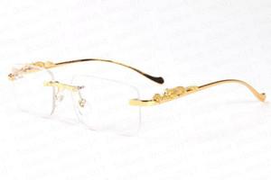 erkekler için yeni moda polaroid güneş gözlüğü altın ve gümüş leopar deseni, metal siyah kahverengi berrak ayna mercek çerçevesiz güneş gözlüğü stent serin
