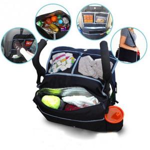 Toptan-Çok Fonksiyonlu Bebek Arabası Asılı Çanta Araba Arka Koltukta Organizatör Depolama Sepeti Yalıtımlı Çanta Çok cepler Mumya Bezi Çanta