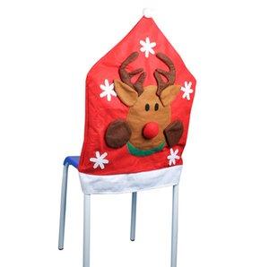 3Pcs European High -Quality Mezza stereo di Natale del pupazzo di neve della decorazione del partito di Santa Chair Elk Covers Chair Hotel