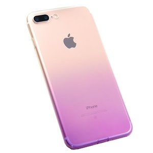 Para iPhone7plus / 8plus / 7 / Case, Colorful Limpar Shell Magro Caso translúcido Impact Resistant flexível TPU Soft Case Shell de protecção (Gradiente)