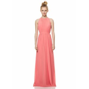 Hot Selling Jewel Neck Sleeveless Ladies Halter Bridesmaid Dresses Pink Long Dress Chiffon Formal Design Custom Made Gown
