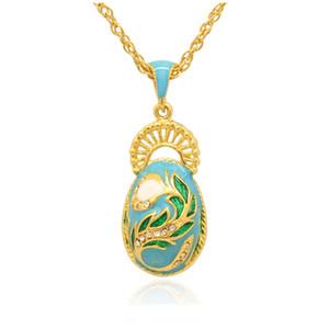 Zarif Tavuskuşu Kuyruk Faberge Yumurta Charm Paskalya günü için el renk emaye Rus Tarzı Yumurta Kolye