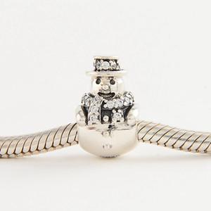 Snowman christmas charms S925 판도라 스타일의 순은 팔찌에 적합 무료 배송 H8 792001CZ