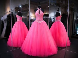 Fuchsia Halter Ball Gown Quinceanera Masquerade Dresses 2020 Crystal Beadings Lace-up Back Floor Length Long Prom Gowns
