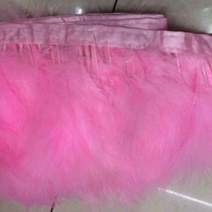 2yards / unid plumas de color rosa de plumas de marabú del ajuste de la pluma de marabú Franjas Colores ajuste de la cinta de la franja de marabú teñido pluma de Turquía Trimming