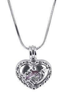 Moda Amore perla Cuore ciondoli ciondolo lettera vuota Miglior mamma medaglioni fascino in argento placcato collana Fit gioielli all'ingrosso all'ingrosso