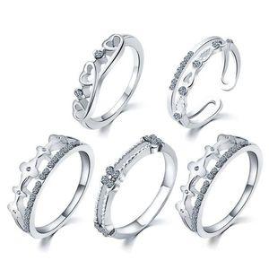 Ring Set Silber Band Ringe heißen Verkaufs-CZ-Diamant-Kronen-Finger-Ringe für Frauen-Mädchen-5pcs / set silberne Schmucksachen Wholesale freies Verschiffen 0354WH