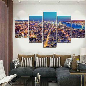 5 Panels Kunstwerk Leinwand Malerei Wandkunst Leinwand Gemälde Für Wohnzimmer Wand Cuadros Schöne stadtansichten Leinwand Foto