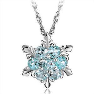 Chapado en plata de moda joyería de la boda Cubic Zirconia copo de nieve estrella colgante collar mujeres chica accesorios del partido collar de cristal austriaco