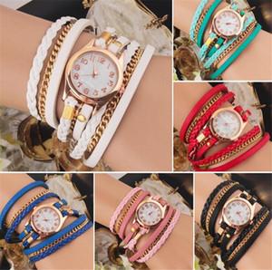 Reloj de pulsera de moda del reloj del reloj de señora de las mujeres del abrigo del cuero Relojes dial redondo Infinity pulseras relojes con encanto