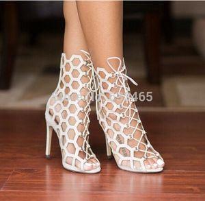 Yeni beyaz / siyah ayak bileği Gladyatör yüksek topuklu cut-out 2016 yaz düğün pompaları yukarı seksi peep toe dantel sandal
