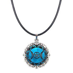 الثلاثي آلهة القمر المختنق قلادة الويكا الوثنية الياقة أزياء ومجوهرات زجاج قبة قلادة الخماسي الشكل الخماسي قلادة مع الأسود الحبل الشمع