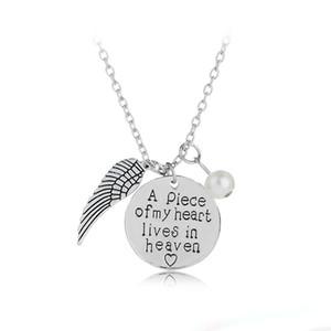 """""""Часть моего сердца живет на небесах"""" персонализированные почерк ожерелье памяти ожерелье памяти Ангел крыло ювелирные изделия"""