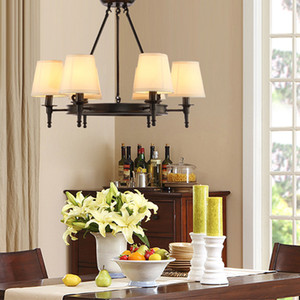Подвесное освещение американская страна гостиная огни потолочный светильник старинные огни простой утюг столовая спальня кабинет