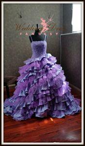 Robes de mariée gothique pourpre orchidée et lil robe de bal sexy bretelles spaghetti en cascade à volants dentelle plus la taille robes de mariée