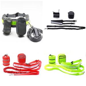 Nuevo diseño Cinturón elástico Correr Correa para perros Lead Sports Jogging Walking Pet Collar Cuerda Hand Free Waist Dog Leash Set