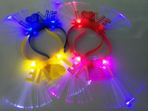 Laços de amor, bandas de flash de fibra óptica, grampos de cabelo infantil, adereços, mercados noturnos, novos produtos quentes