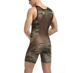 Mens sexy underwear male panties bodysuit panties Camouflage men clothing bodysuit masculino jumpsuit active mens bodywear Wrestling suits