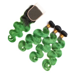 8A 말레이시아 녹색 옹이 머리 2 톤 1 톤 / 그린 바디 웨이브 옹 브러 인간 머리카락 상단 폐쇄 무료 부분과 직물