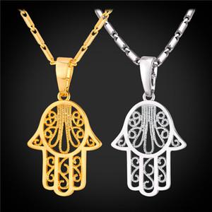 Новый Хамса рука ожерелья подвески золото / серебро цвет арабский Рука Фатимы счастливый подарок Кристалл ювелирные изделия ожерелье